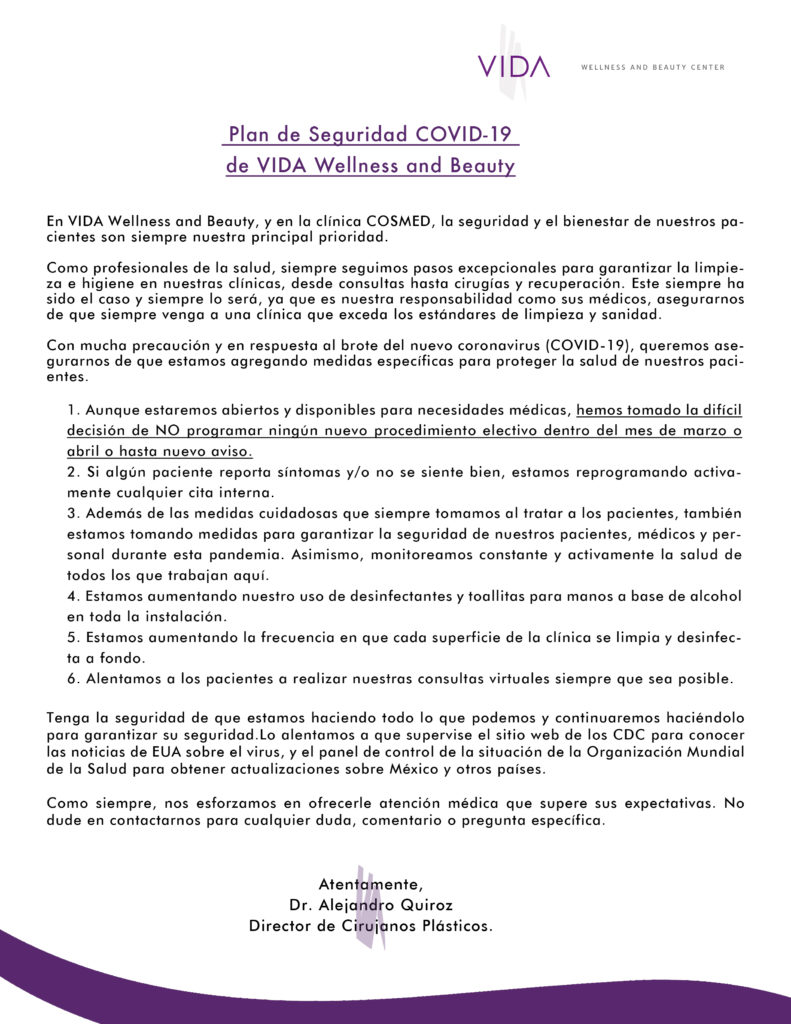 VIDA clinic letter about COVID-19 a sus pacientes