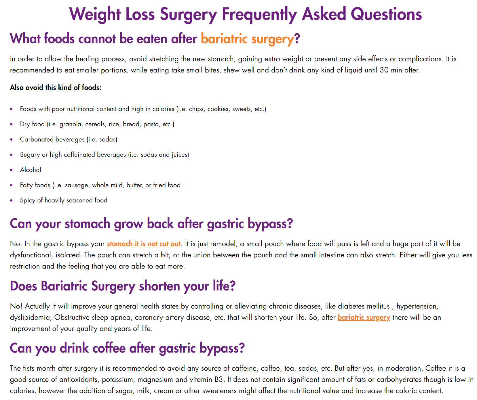 weight loss surgery frequently asked questions